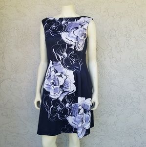 Vince Camuto Flower Print Fit & Flare Dress